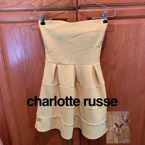 Yellow strapless mini dress size S